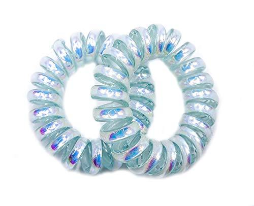 Coppia di 2 elastici per capelli in metallo lucido, di piccole dimensioni, colore verde acqua