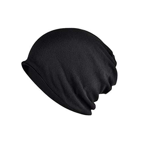Yuccer Unisex Slouch Beanie Cotone Cappello 2-in-1 Copricapo Chemioterapia Collo Sciarpa per Esecuzione Sport Escursioni a Piedi (Sottile, Nero)