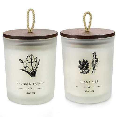 Set regalo di candele profumate, candela profumata alla cera di soia (fino a 80 ore), 13 once, sollievo dallo stress e aromaterapia per le donne, regalo di San Valentino, lavanda e blu Morse.