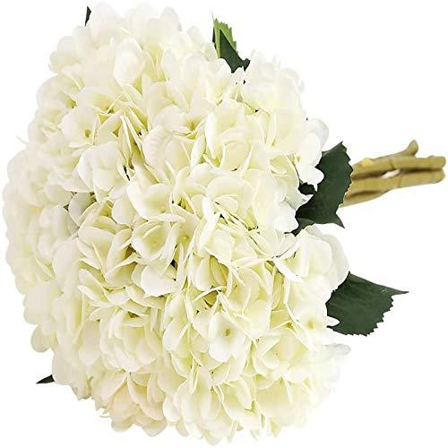YYHMKB Fiore di ortensia artificiale, 5 pezzi Realistico singolo gambo lungo Seta 6,6 pollici Testa di fiore Mazzi di ortensie per matrimonio, casa, bianco