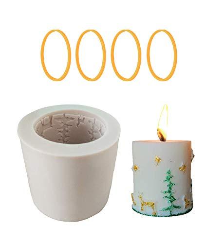 Homankit - Stampi in silicone a cilindro per candele natalizie, ideale per realizzare candele fai da te, sapone e cottura in forno.