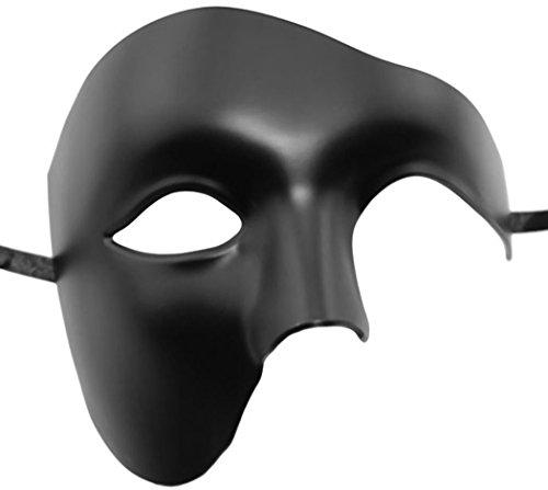 Kapmore Mens Travestimento Maschera Halloween Costumi Veneziano Maschera Partito Fai da te Handmade (One Size, Black)