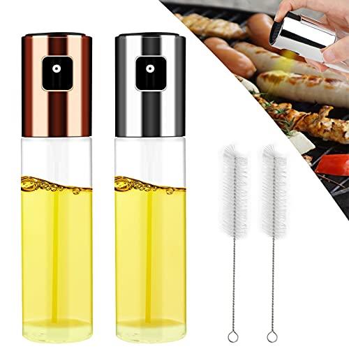Hippodance Olio Spruzzatore, Dispenser per Spruzzatore di Olio 100ML Nebulizzatore Olio Cucina in Vetro per BBQ, Insalata, Pane di Cottura, Cucina, Incluso Tubo Spazzola (2 Pezzi)
