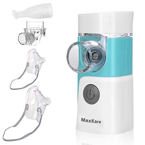 Aerosol Nebulizzatore Portatile e Inalatore Silenzioso con 2 Mascherine e 1 Ugello,per i Adulti e Bambini , Trattamento Efficace delle Malattie Respiratorie, Ricaribile USB Atomizzatore Elettronico