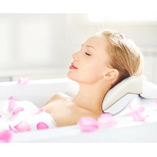 Healifty cuscino per vasca da bagno–spa cuscino con supporto testa e collo–Super Soft–non galleggiante, antibatterico, ad asciugatura rapida, antiscivolo–Fits most vasca