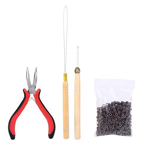 Kit di estensione dei capelli Filfeel Kit di connettori per parrucche Pinze Hook Loop Tip con 500Pcs Micro Rings Accessori per l'estensione dei capelli(Brown)