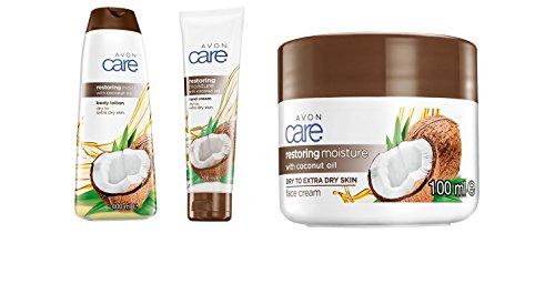 Avon Care Restoring Moisture con olio di cocco, lozione per il corpo da 400 ml, crema per le mani da 100 ml e crema viso da 100 ml