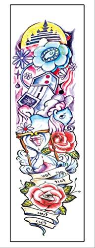 LNNHJB Autoadesivo Impermeabile del Tatuaggio del Sudore del Braccio Completo della Clessidra della Rosa