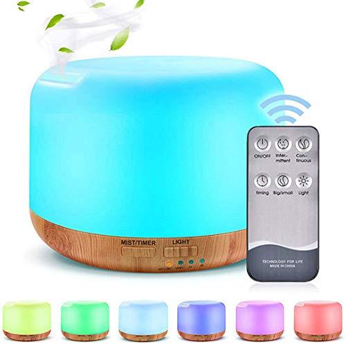 Phiraggit Diffusore di aromi, diffusore da 300 ml Aromaterapia Umidificatore Nebulizzatore ad ultrasuoni Diffusore Elettrico della Lampada di fragranza con 7 Colori LED, casa, Ufficio, Yoga