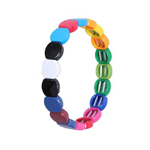 EXCEART Bracciale Piastrella in Smalto Arcobaleno Tila Perline Bracciali Impilabile Elastico Bracciale Rigido per Uomo Donna Stile 4