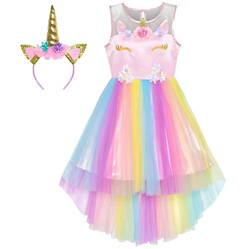 Sunny Fashion Vestito Bambina Unicorno Arcobaleno Tulle Unicorno Fascia per Capelli Festa 4 Anni
