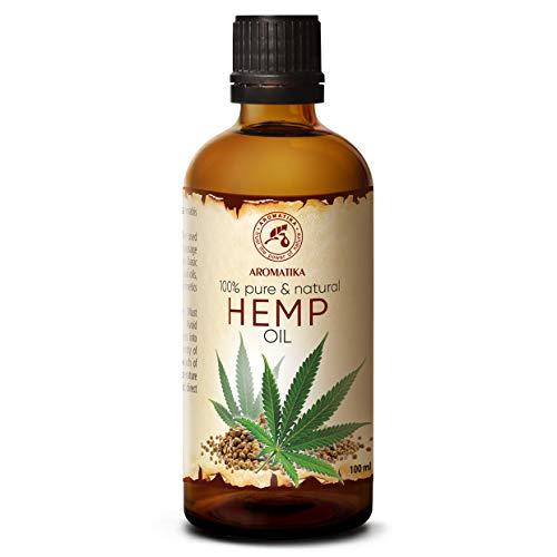 Olio di Semi di Canapa - 100ml - Cannabis Sativa - Olio Vegetale - Puro e Naturale - Pressato a Freddo - Olio Vettore - Cura del Viso - Olio per Capelli - Olio per Corpo - Olio da Bagno
