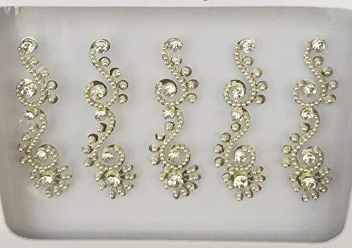 Viso arabo Fronte BB122 argento Bindi perla di cristallo di pietra Bindi autoadesivo del tatuaggio nozze Tikka indiano operato dal partito Gem Body Art