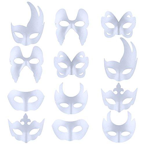 Outgeek Maschera Bianca, 12Pcs DIY Maschera Viso Bianca Maschera Carnevale Per La Giornata Dei Bambini Halloween
