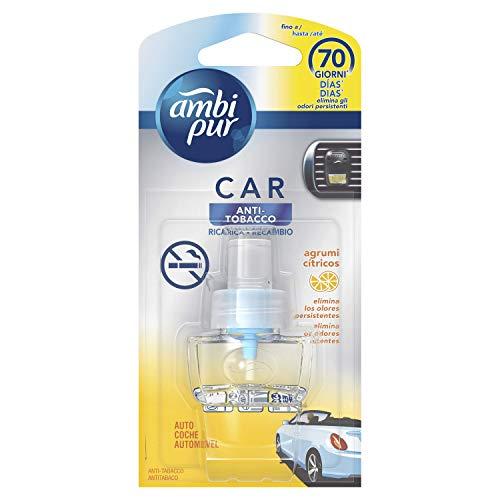 Ambi Pur Car anti Tabacco Ricarica di Deodorante per ambienti con Clip 7ml, per eliminare Gli Odori Sgradevoli dall'Auto, 1 unità