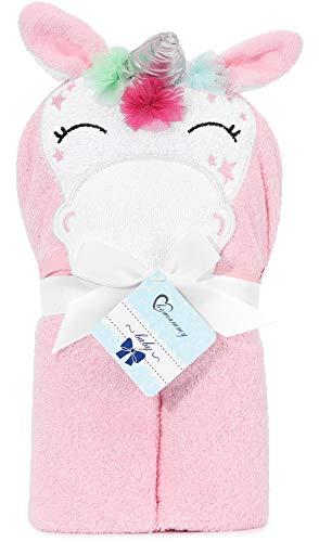 Be Mammy Asciugamano con Cappuccio 100% Cotone Neonato e Bimbo 95cm x 95cm BE20-272-BBL (Rosa - Unicorno)