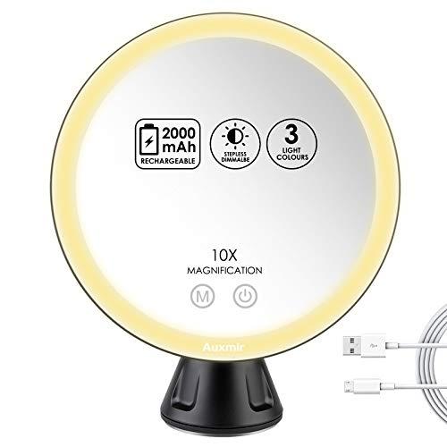 Auxmir Specchio Ingranditore 10X, Specchio Trucco con Luci a 46 LED, 3 Colori di Luce, Luminosità Regolabile, Ricaricabile, Rotazione a 360°, Potente Ventosa, 20CM