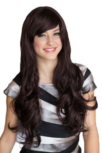 Annabelle, parrucca extra lunga da donna, colore nero, con sfumature viola e frangia laterale per sudare, Sarah, 250 g