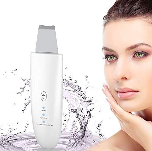 Raschietto per la pelle del viso, rimozione dei punti neri, ricaricabile tramite USB, 3 in 1, spatola a ultrasuoni per la pulizia dei pori, rimozione della pelle morta, acne, esfoliante
