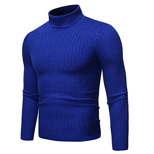 Lushi - Maglione da uomo per autunno e inverno, collo a torsione Blu reale 2XL