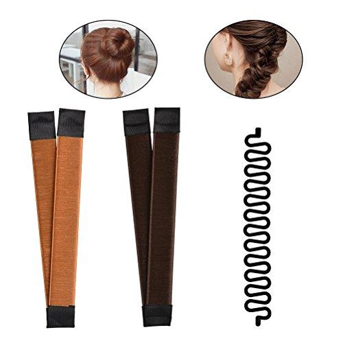 TIMESETL 2pcs Hair Bun Maker + 1pcs Moda francese intrecciare i capelli strumento,Magic Twist Styling per capelli(Marrone+d'oro)