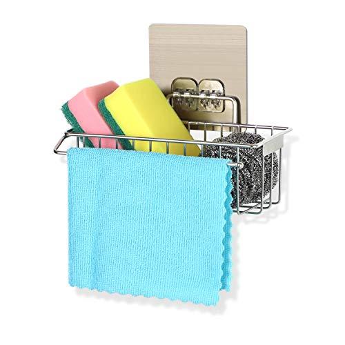 Bogeer 2 in 1 - Mensola per lavello da cucina, senza fori, in acciaio inox, antiruggine, per la cucina