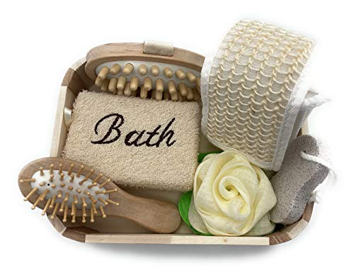 Massaggiatore anticellulite spugna naturale bagno doccia spazzola legno massaggio cuoio capelluto pietra pomice fascia esfoliante schiena
