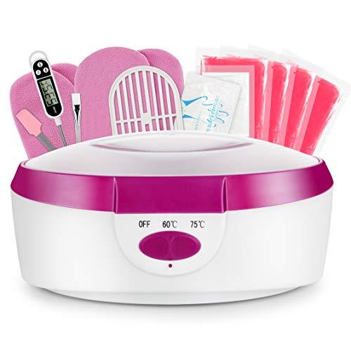 AYITOO Bagno di paraffina per mani e piedi con accessori, vasca di cera elettrica con cera di paraffina, cuscinetto di cera per mani e piedi, dispositivo 265 W, colore rosa