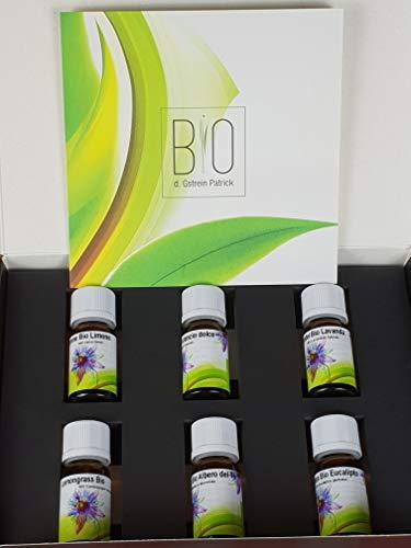 6 flaconi di olii essenziali, 100% naturali e biologici