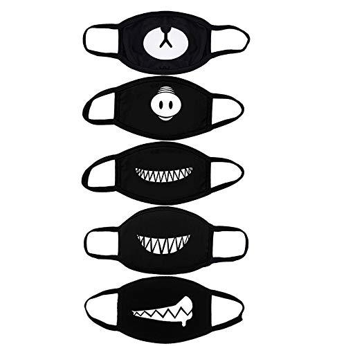 ZOYLINK 5pcs Maschera Antigas Maschera di Cotone Traspirante Riutilizzabile Orso Maiale Naso Denti Maschera Anime per Uomini Donne (Nero)