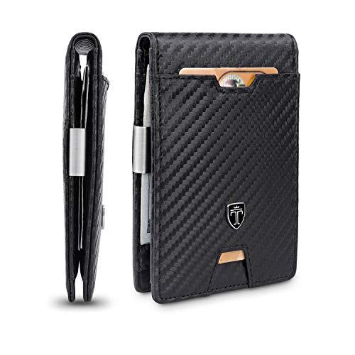 TRAVANDO Portafoglio Uomo con Clip per Contanti LONDON - 10 Tasche per la Carte - Porta carte di credito - Protezione RFID - Regalo perfetto per gli Uomini - Confezione Regalo (Carbon)