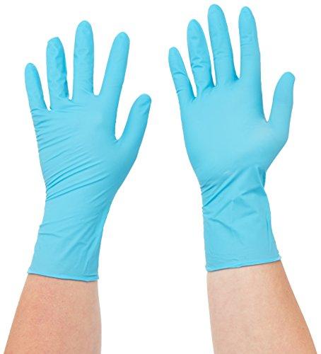 Guardia sempre 816780633/3000001627 Xpert una volta in lattice di protezione degli angoli del a mano con decoro in scarpa in nitrile, rossetto in crema e in a scelta, prodotti chimici riempire di protezione degli angoli del, taglia S, 6-7, verde/blu (ER-confezione da 100)