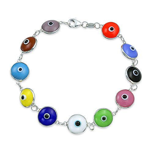 Turkish Colorful Multicolor Evil Eye Glass Bead Bracelet for Women for Protection And Good Luck 925 Sterling Silver