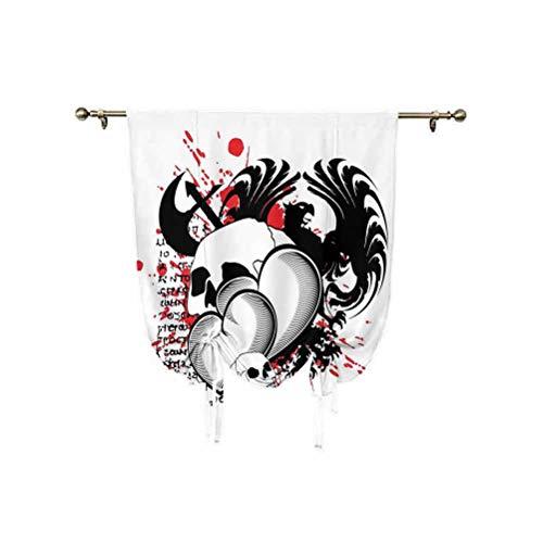 Tatuaggi Decor Tie Up Shades Panels,The Majestic Creature of a Wild Wolf Tribal Tattoo Design Art Print Regolabile Palloncino Tenda Ombra 31 x 155 cm, per finestra del bagno, bianco e nero