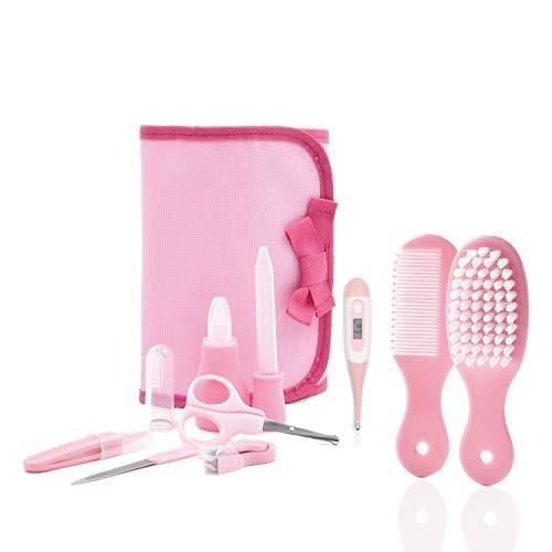 Set Igiene Neonata Nuova Generazione Cura Del Bambino comprende: Forbici Lima unghie Termometro Digitale Aspiratore Nasale Pettine Spazzola Pinze