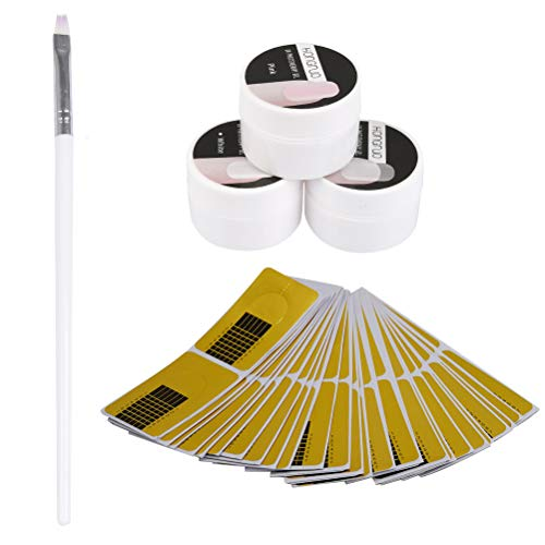 YOTINO 5 Pezzi Smalti Livellanti per UnghieGel Costruttore per Unghie 3 colori, Ricostruzione Kit UV Estensione del Gel Set Manicure per Unghie con Pennello