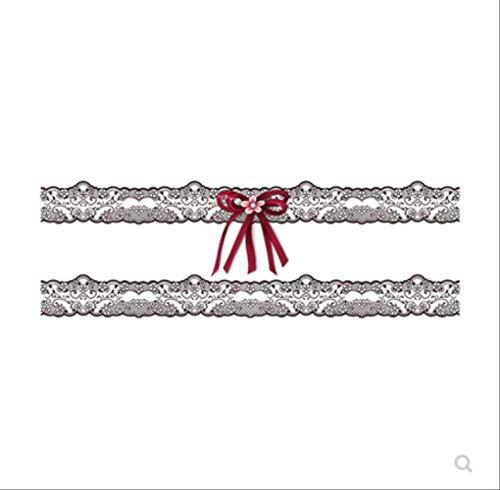 LNNHJB personalità Fiocco in Pizzo Gamba Anello Tatuaggio Pasta Impermeabile Donna Lunga Durata Coscia monouso Pasta Tatuaggio Seduzione Marea