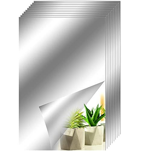 Toyyevr 10 Fogli Pellicola a Specchio Adesivo Murale Specchi autoadesivi DIY Adesivo Decorative Wall Stickers Adatto per finestre e Porte a Muro di Piastrelle da Bagno Interne ECC 15 x 23 cm