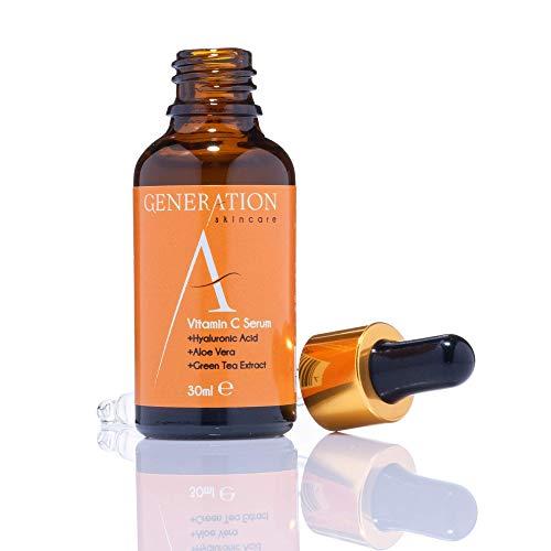 Generation Skincare Siero Viso con Vitamina C e Acido Ialuronico - Vitamina C Siero Antirughe e Antimacchie - Contro Cicatrici e Acne - Siero Acido Ialuronico con Ingredienti Naturali