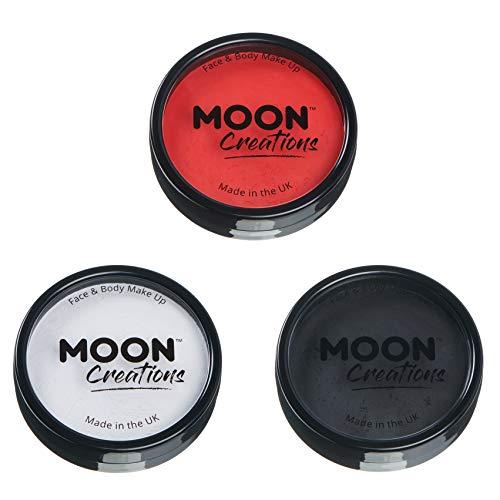 Moon Creations - Pittura Professionale per Viso ad attivazione ad Acqua - Set di 3 Colori