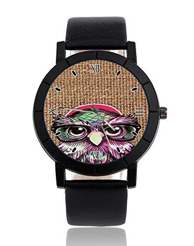 Cool colorato tatuaggio gufo saggio con divertenti occhiali poster orologio da polso cinturino in pelle orologio orologio casual per uomo