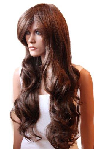 PRETTYSHOP - Parrucca voluminosa, capelli ondulati e lunghi, in fibra sintetica, resistente al calore, per fare teatro/cosplay/show, in vari colori