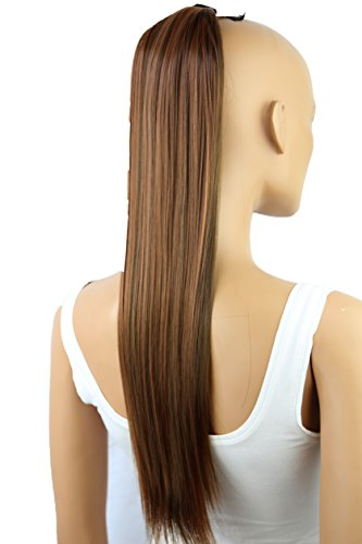 PRETTYSHOP 60cm (24') parrucca Clip In Extension coda di cavallo Pony Tail Lisci resistenti al calore effetto capelli naturali Diversi Colorei (marrone mix bionda 30H9 HC6)