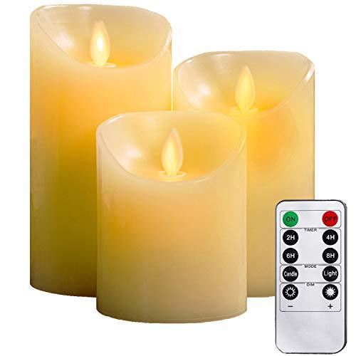 Candele senza fiamma, Φ 8CM x H 10cm/12CM/15CM Set di 3 pilastri Real Wax non in plastica, telecomando a 10 tasti con funzione timer 2/4/6/8 ore, 300+ oreYIWER (3, Avorio)
