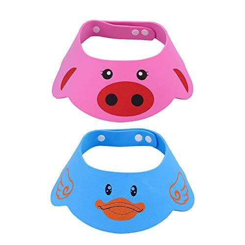 NATEE 2 Pcs Doccia Cap per Bambino, Sicurezza Cappello da Bathing con Visore Regolabile Morbido per Neonati e Bambini, Rosa Blu