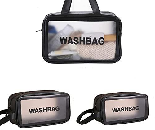 Borsa da Toilette Impermeabile Trasparente 3 in 1,Beauty Case da Viaggio in PVC Trasparente,Ottima Scelta di Kit Viaggio. (Nero)
