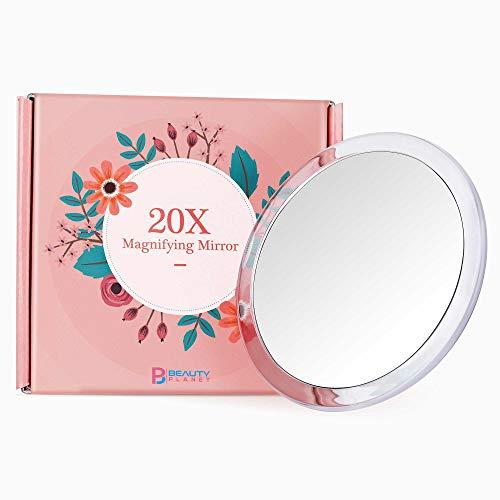 Specchio ingranditore, 13cm, versione migliorata 2020, ingrandimento 20x, con tre ventose, utilizzabile per l'applicazione del trucco, con pinzette e per la rimozione di imperfezione/punti neri