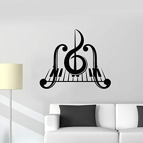 Adesivi Murali, Tatuaggi Murali, Pianoforte Chiave Musica Decalcomania Del Vinile Camera Da Letto Chiave Di Violino Strumenti Musicali Adesivi Murali Soggiorno Decorazione Aula 57X67 Cm