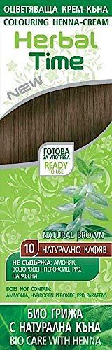 Crema colorante per capelli con estratto di Henné e Ortica - Colore Marrone Naturale 10, Senza Ammoniaca, Senza Solfato, Senza Parabeni