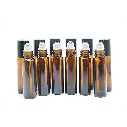 Yizhao Roll On Vuoto per Oli Essenziali,Profumi,10 ml Marrone Bottiglie Vuote in Vetro, con Sfera in Acciaio Inossidabile – 12 PCS